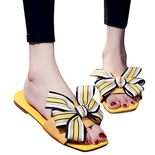 Mujeres Zapatillas Zapatos, Señoras Ocasionales Bowknot Chanclas Planas Arena Playa, Piscina Playa Baño Antideslizante Cómodo Casual,D,40