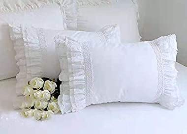 """Meaning4 2-Pack White Pillow Shams Shabby Chic Pillowcases with Lace Ruffles Vintage Pillow Covers Cotton Queen Size 20""""X"""