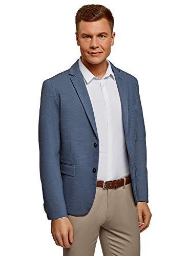 oodji Ultra Uomo Blazer Slim Fit in Maglia, Blu, 56-58
