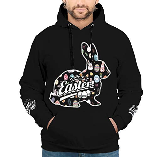 RQPPY Mens Classics Hoodie Happy Easter Rabbits Silhouettes Wildflowers Longsleeve Langarm Sweatshirt Pullover Rundhals Für Frauen White s