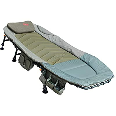 FoxHunter Portable Fishing Bed Chair | XL Heavy Duty Camping Bed | Adjustable Back Rest & Legs Bedchair | Built-in Tool Bag Tackle Storage Carp Fishing | Detachable Pillow - Khaki Green by KMS