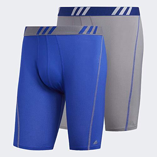 adidas Men's Sport Performance Mesh Midway Underwear (2-Pack), Grey/Bold Blue Bold Blue/Grey, MEDIUM