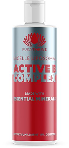 PuraTHRIVE Vitamin B Complex - Micelle Liposomal Active B-Complex 8 oz Liquid by Purathrive. Active-B Contains Nine Essential Minerals & Electrolytes to Further Support Well being & Performance