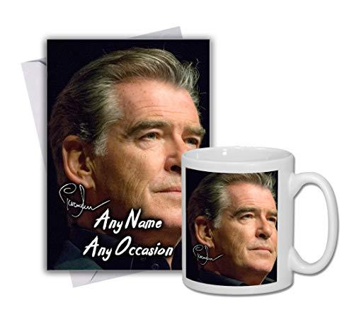 Pierce Brosnan - 007 - James Bond 1 Personalised Card and Mug (Christmas, Birthday, Xmas)