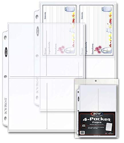 BCW Pro 4-Pocket Photo Page, 3.5-Inch x 5.25-Inch (20 Pages)