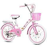 LED Tech 2-9 Jahre altes Mädchen Kind Faltrad, einstellbare Geschwindigkeit mit Stabilisator und im Format 16 Zoll 18 Zoll 20 Zoll 22 Zoll Outdoor-Mode Student Fahrrad,18 Zoll