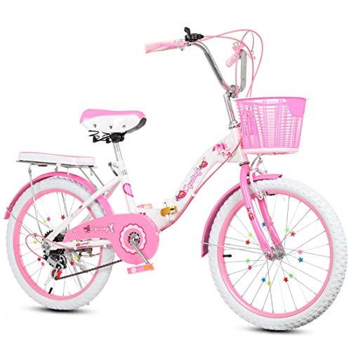 LED Tech 2-9 Jahre altes Mädchen Kind Faltrad, einstellbare Geschwindigkeit mit Stabilisator und im Format 16 Zoll 18 Zoll 20 Zoll 22 Zoll Outdoor-Mode Student Fahrrad,20 Zoll