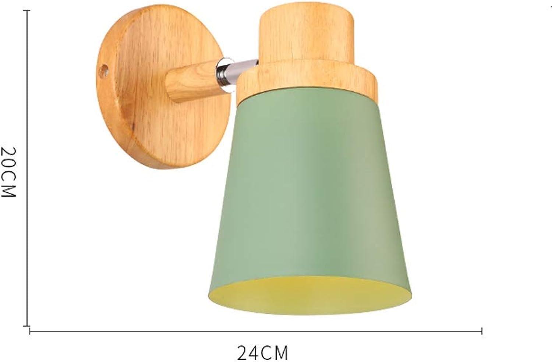 JSHfs Hlzerne Beleuchtung moderne minimalistische kreative Schlafzimmer Nachttischlampe Wohnzimmer Gang Massivholz Wandleuchte (Farbe   Grün)