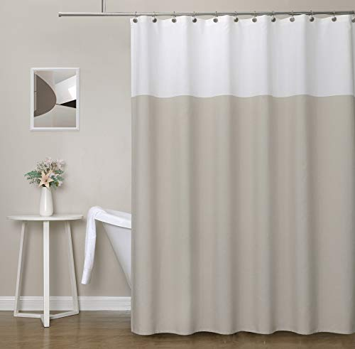 West Lake Tan White Fabric Shower Curtain, Hookless Color Block Contemporary Bathroom Décor, Waterproof Bath Room Curtain, 12 Rust Proof Grommets Top for Hotel Spa Home, 70''x84''
