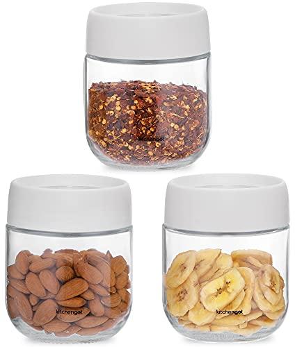 Tarros de Cristal con Tapa Hermetica - Pack de 3 Botes de Cristal Apilables - Recipientes de Cristal para Alimentos para Aperitivos, Café, Frutos Secos - 350 ml - KitchenGet