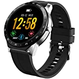Smart Watch Fitness Tracker HAOQIN VS1 for Women Men with Heart Rate Sleep Monitor Full-Touch Screen Sport Watch with IP67 Waterproof and Dustproof Android iOS (Silver)