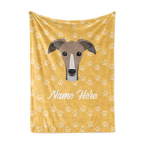 Personalized Custom Greyhound Fleece and Sherpa Throw Blanket for Men Women Kids Babies - Pet Dogs Blankets Perfect for Bedtime Bedding Gift Dog Lovers Moms Dads