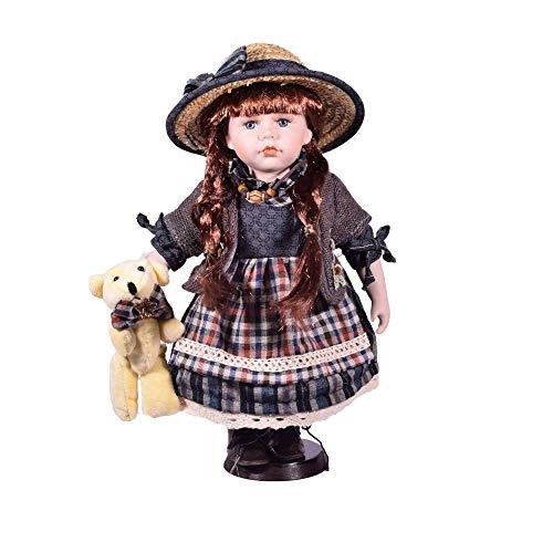 Bambola in porcellana tradizionale costume ragazza 30,5 cm orsacchiotto con supporto in legno – Vintage Collectible Home Decor Figurine
