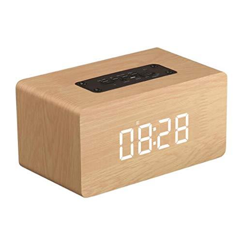 Altavoz de Reloj inalámbrico portátil Bluetooth 4.2, Altavoz de Madera del Despertador del Bluetooth de W5C, Batería de Litio 1500mAh, con función de Llamada, Admite Tarjeta TF/AUX