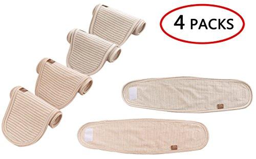 Flyingsky Nabelschnurgurt für Babys, 100 % Bio-Baumwolle, atmungsaktiv, für Neugeborene, für den täglichen Gebrauch, 4 Stück
