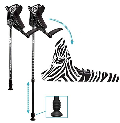 smartCRUTCH Racer Series Forearm Crutch 15-90 Degree Rotation - 2 Ergonomic Walking Aids, Adjustable 4'4-6'7 Adult Athlete Elderly Injury/Disability, Mobility Support - Medium, Zebra