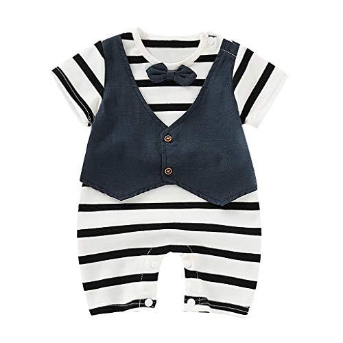 Tyoby Baby Kurzärmliger, gestreifter Jungen-Jumpsuit Gentleman Mode-Stil(Weiß,1)
