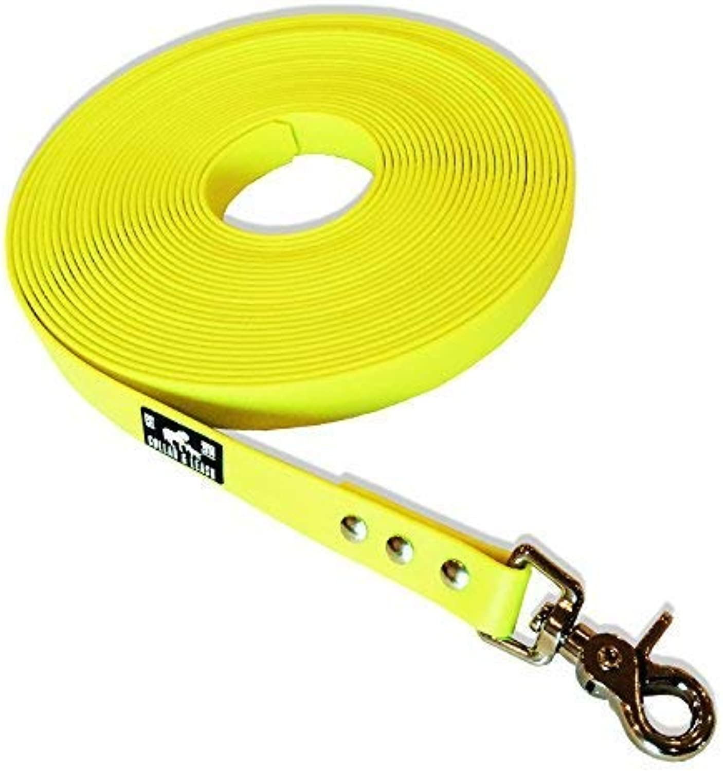 Collar & Leash Tracking Lead from 16 mm Biothane 115 Meter Neon Yellow  Neon Yellow, 8 m