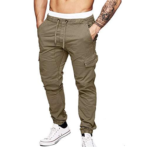 FRAUIT Pantaloni Cargo Uomo con Elastico alla Caviglia Pantaloni Uomini Tasche Laterali Invernali Pantaloni da Lavoro Ragazzo Leggeri Pantaloni Slim Fit Elasticizzati Pantalone Tuta