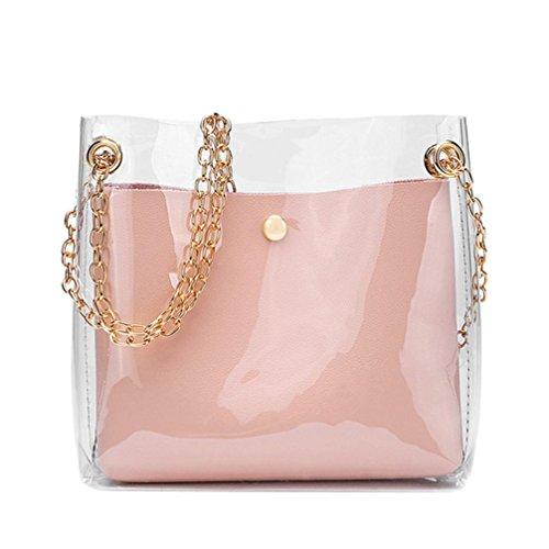 DOGZI Handtasche Damen, Klein Transparente Tasche Rucksack Damen Ledertasche Kleine Frauen Fashion Solide Schultertasche Messenger Bag Crossbody Telefon Münztüte (Schwarz) (Rosa)