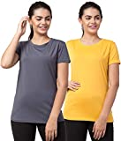 Bluecon Polyester Solid Slim Fit Half Sleeve Women Tshirt/Gym Tshirt for Women Workout- Combo of 2 Dark Grey/Yellow