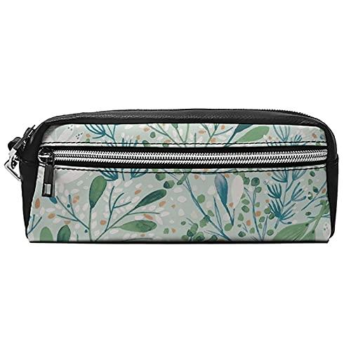 Estuche de cuero para cosméticos Bolsa multiusos con cremallera de metal Tamaño de bolsillo Pen Cosméticos brushPink02, Black-watercolor Plants10, 20*10*5.5,