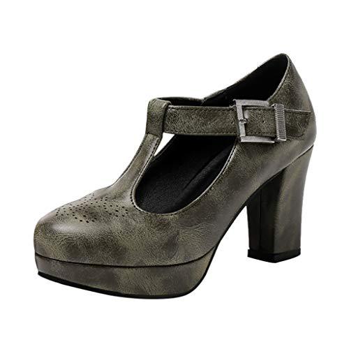 KERULA Sandalen Damen Absatz, Atmungsaktive Runde Zehenleuchten In Reiner Farbe Pumps Damenschuhe Shoes Sandaletten Schuhe