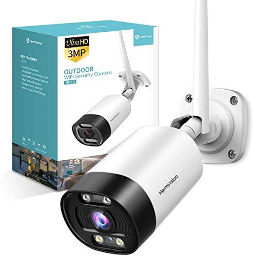 HeimVision 3MP HD WLAN IP Kamera, Überwachungskamera mit Audio für Aussen, 2,4GHz WiFi Outdoor Kamera mit IR Nachtsicht, SD Kartenslot und Bewegungserkennung