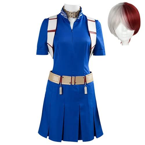 JOJO STYLE Cosplay Trajes Anime My Hero Academia Todoroki Shoto Adulto Disfraz De Halloween Boku No Hīrō Akademia Incluyendo Vestido + Tirantes + Cinturón + Accesorios para El Cuello + Peluca,Azul,XS