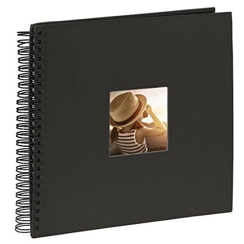 Hama Jumbo Fotoalbum, 36 x 32 cm, 50 schwarze Seiten, 25 Blatt, mit Ausschnitt für Bildeinschub, Fotobuch schwarz