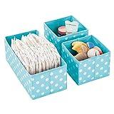 mDesign Juego de 3 cajas de almacenaje para habitaciones infantiles, baño, etc. – Cestas organizadoras de lunares – Organizadores de armario infantil de fibra sintética en 2 tamaños – turquesa/blanco