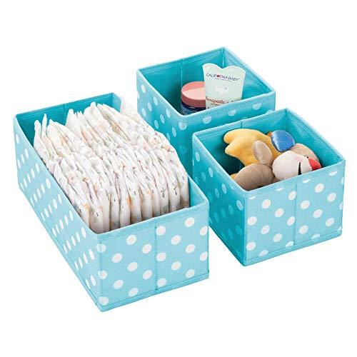 mDesign boîtes de rangement (set de 3) en plastique pour chambre d'enfants, salle de bain, etc. – module de rangement – boîte en tissu de 2 tailles différentes en fibre synthétique – turquoise/blanc