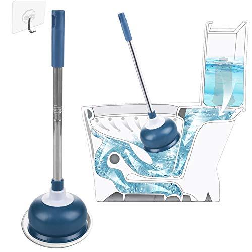 AUMUA Pömpel Toilette Saugglocke WC für Badezimmer mit Halter, Saugglocke Abfluss für Verstopfte Toilette - Starke Absaugung, Blau