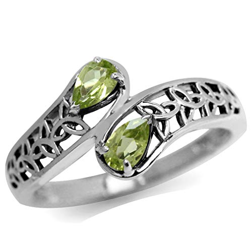 Natural Peridot 925 Sterling Silver Filigree Triquetra Celtic Knot Bypass Ring Size 5