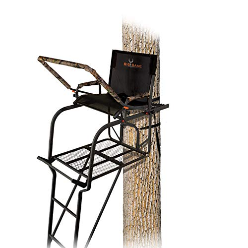 BIG GAME Hunter HD 1.5 Treestand - Adjustable Shooting Rail, Extra Wide/Deep Platform for Wide Stances, Flex Tek Comfort Seating 18.6' Tall, Black