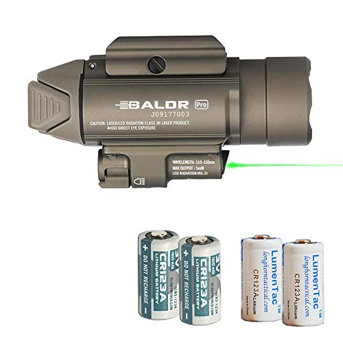 Olight Baldr Pro 1350 Lumen Pistol Flashlight with Green Laser Sight with 2X LH123A Batteries (Tan)