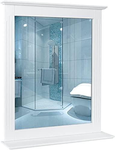 Badspiegel mit Ablage 50x60cm rechteckiger Wandspiegel Badezimmerspiegel Flurspiegel Spiegel für Badzimmer Wandmontage Flur Weiß 50x60x12cm