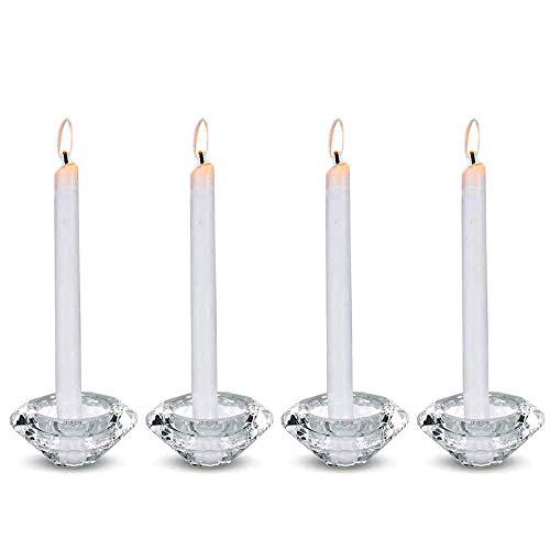 Nuptio 4 Stück Tee Kerzenhalter Hochwertige Kristall Glas Kerzenständer, Teelichthalter Kristall Diamant förmiger Aroma Kerzenhalter, Kerzenständer Stumpenkerze Teelichtgläser Weihnachten Deko
