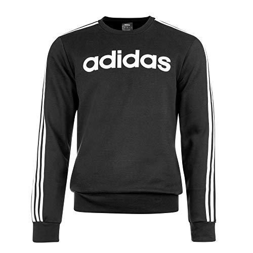 adidas Herren Pullover Essentials 3-Streifen Crewneck Fleece, Black/White, L, DQ3084