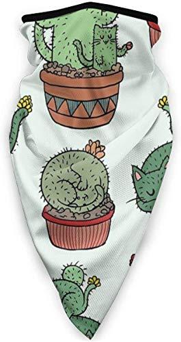Balaclavas Cactus Cats Lustige Gesichtsmaske Halbes Gesichtsschutz Stirnband für Staub UV Sonnenschutz Nahtlose 3D-Schalhalsmanschette zum Reiten von Sportmasken
