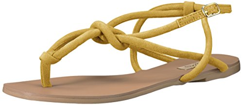 Qupid Women's Archer-309 Flat Sandal, Yellow, 5.5 M US
