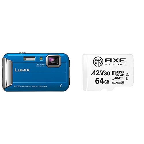 Panasonic LUMIX DMC Outdoor Kamera (blau) + Axe 64 GB MicroSDXC Speicherkarte mit SD-Adapter, A2, V30 UHS-I U3 4K Ultra HD Klasse 10
