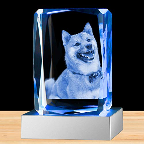 3D Crystal Photo Personalized in Glass Laser Etched Picture Rectangle Engraved Cube Paperweight with Light as Gift and Souvenir for Women Men Girl Boy Birthday Wedding Medium Vertical