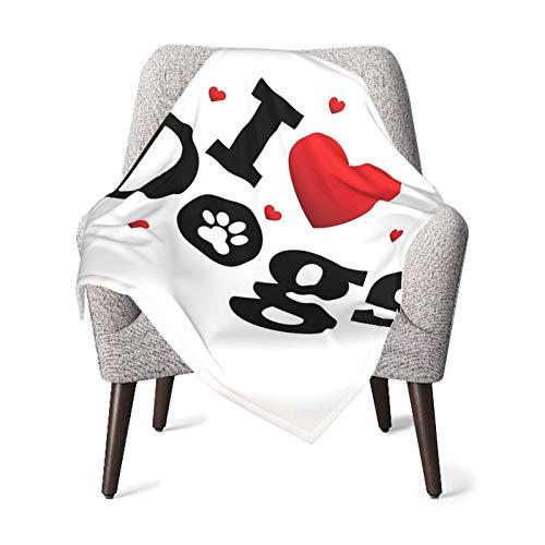 Hdadwy Manta doble para bebé Colcha para bebé Colección de decoración para amantes de los perros I Love Dogs Sign Animal doméstico Amistad Unión Compañerismo Arte temático Rojo Negro Manta de bebé, Ma