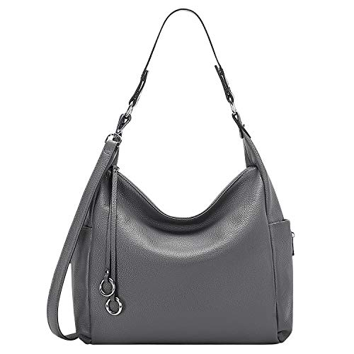OVER EARTH Genuine Leather Purses and Handbags Shoulder Bags For Women Ladies Hobo Crossbody Purse Large (O116E Dark Gray)
