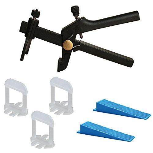 Lantelme Starter Set XXL ID5116 Sistema de nivelación, 13-22alturas y 1mm de ancho de junta con 100unidades, lengüetas XXL, 100cuñas y 1alicate