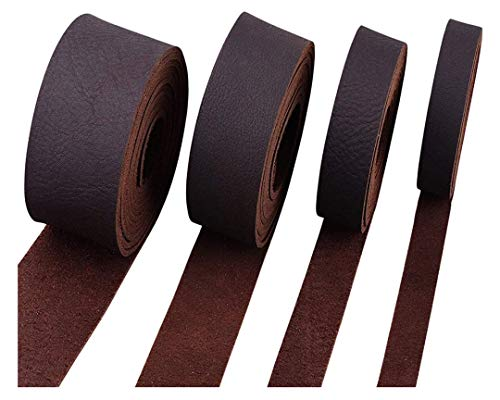 """ELW Brown Latigo Leather 9-10oz (3.6-4mm) Straps, Belts, Strips 1/2"""" (1.3cm) Wide X 72"""" (1.83m) Long Full Grain Leather Cowhide Tooling Leather Heavy Weight"""