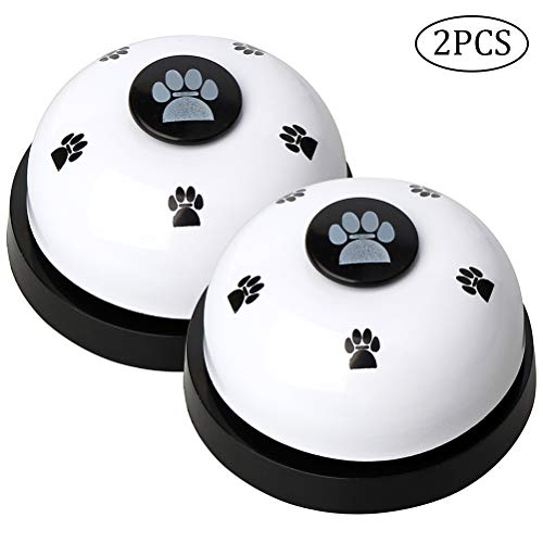 Haokey 2 Stücke Trainingsglocken für Haustiere, Hund Türklingel Hundeglocken für Potty Katzentraining, Töpfchentraining Kommunikationsgerät mit Großem Button(Weiß)