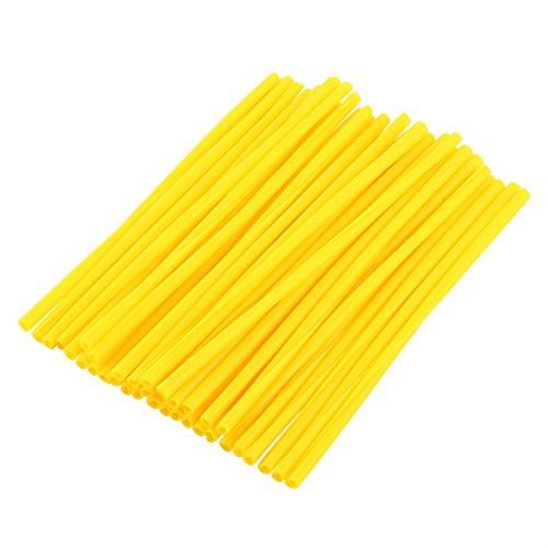 36 pcs 17cm Couvres Rayons Kit de Protections de Jantes de Roues de Moto Spokes Skins Set Protections Décor Universel Pour Motocross Dirt Bike Rayons d'Enveloppes Housse de Roue en Plastique(Yellow)