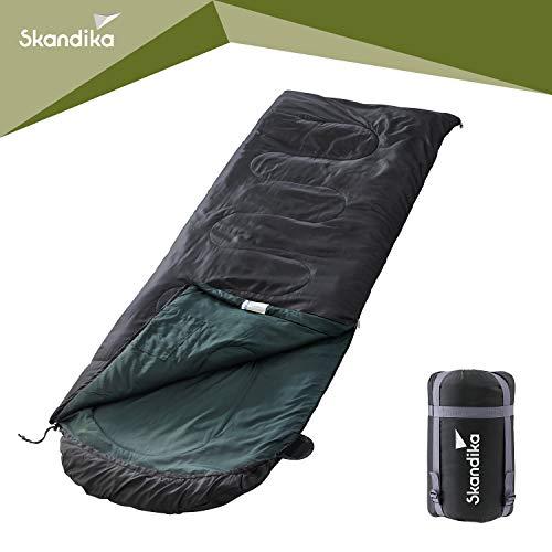 skandika Schlafsack Skye | Deckenschlafsack | Sommer-Schlafsack | Reißverschluss-Sperre | koppelbar (4 Farben) (Schwarz RV Links)